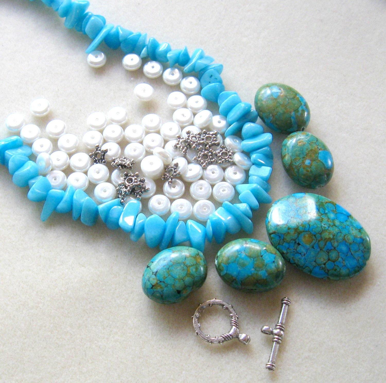 Diy Beads: Mosaic Turquose Jade Chip Beads DIY Jewelry Kit Bead