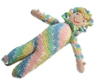 Crochet Soft Stuffed Doll Dolly in Bright Rainbow Multicolor with Blonde Hair and Blue Eyes Light Skin tone for Babies Girls Kids