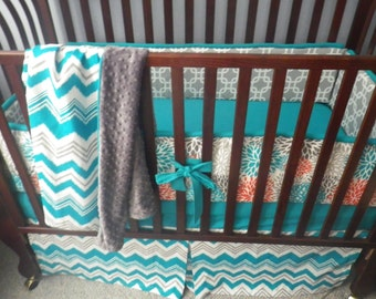 Custom Crib Bedding You Design   Bumper and Bedskirt in  teal orange and gray