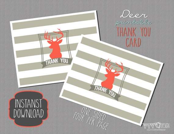 Items similar to INSTANT DOWNLOAD Printable Thank You card -- Deer ...