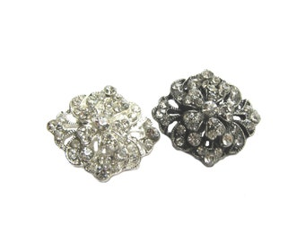 5 Vintage-style Silver Rhinestone buttons for Wedding Invitation Card, Hairpiece, Haircomb, Fascinator RB-020 (22/16mm or 0.9/0.6inch)