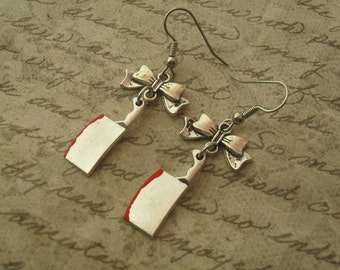 bloody cleaver earrings with bows