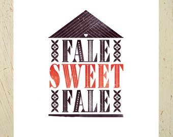 Fale Sweet Fale typographic digital print - inspired by New Zealand and the Pacific Islands, by Erupt Prints