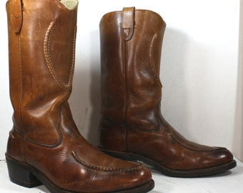 Vintage brown heel cowboy mid calf Leather fashion western boots 10 wide womens 8.5 EEE mens