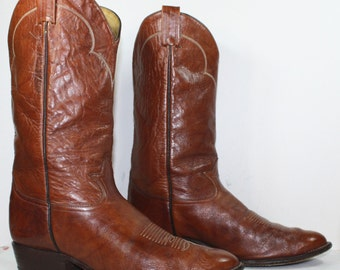 Vintage cowboy brown Tony Lama low heel mid calf western mens Leather boots 9.5 EE
