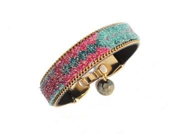 SALE - Friendship bracelet cuff covered with Swarovski crystals -  crystal bangle / seafoam & gold glitter bangle - rhinestone bracelet