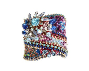 SALE - One of a kind statement cuff with Thai Hmong fabric - vintage and Swarovski - wearable art - statement jewelry - glamorous jewelry