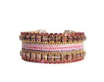 Statement cuff 'Radiant orchid' with Swarovski crystal embellishment - pink rhinestone bridal cuff - pink wedding bracelet - crystal cuff