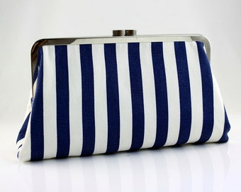 Navy & White Stripes - 8 inches Bridesmaid Clutch - the Christine Style Clutch