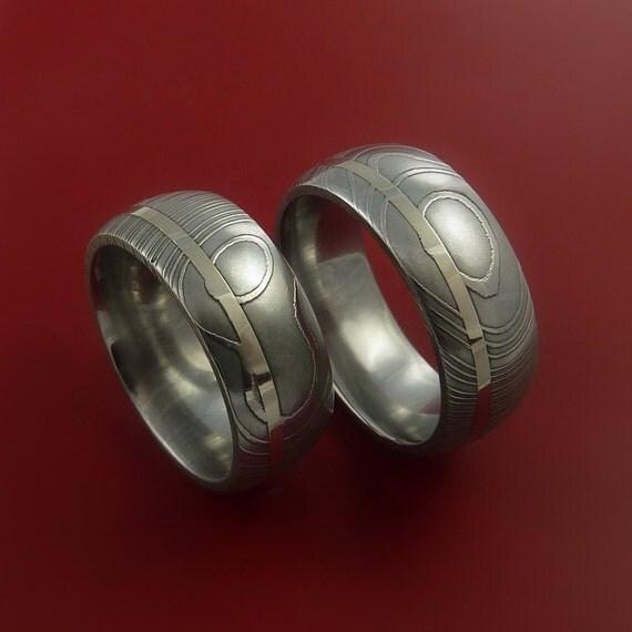 Matching Set 14k White Gold Damascus Steel Ring Wedding Bands