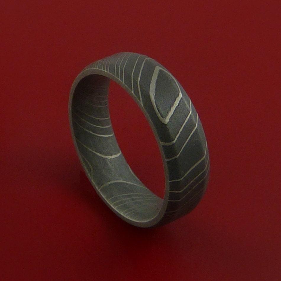 Damascus Steel Ring Acid Finish Wedding Band