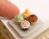 Miniature Dollhouse Assorted Cupcakes on a Plate