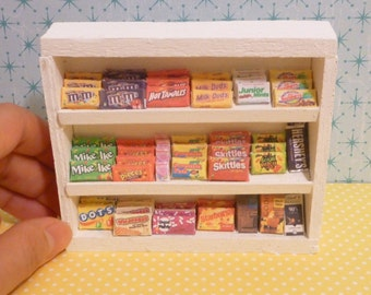 Miniature Dollhouse Candy and Chocolate Box Shelf