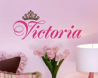 Personalized Name with princess crown, Custom name - princess tiara  vinyl decal sticker, nursery, kids & teens room, removable decals
