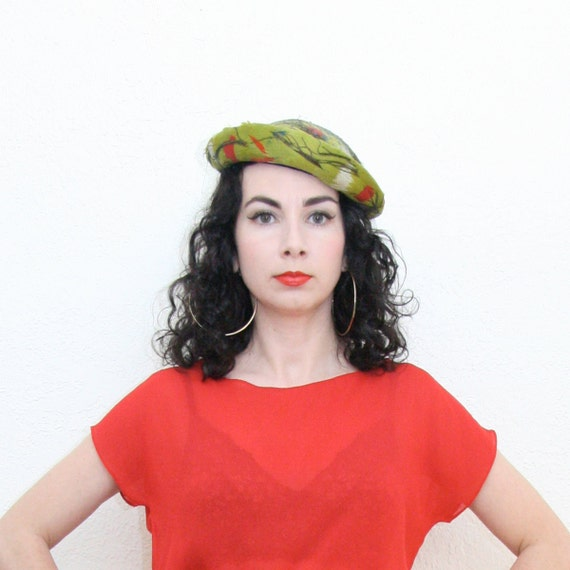 Vintage 40s Lime Green Feather Hat Pin Up Glam