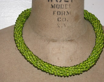 Vintage 1960s Lime GREEN Glass SEED Beaded Handmade Necklace Choker Native