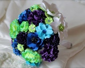 Peacock Inspired Wedding Bouquet - Customize your Style and Colors - Made To Order