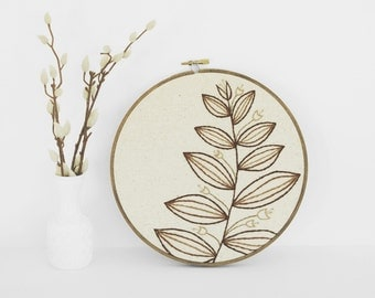 "Embroidery Art Botanical Leaf Fiber Art. Embroidery Hoop Art of Neutral Natural Brown and Tan Leaf Design in 8"" Hoop"
