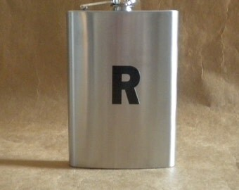 Personalized Gift Stainless Steel 8 Ounces Flask with ANY Black Vinyl Initial KR2D 6829