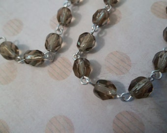Smoke Topaz Brown 6mm Fire Polished Glass on Silver Beaded Rosary Chain - 18 inch strand