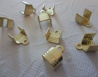 Brass Rhinestone Chain Connectors Crimps 7.5mm Size for 6mm or 6.5mm Size Chain - Qty 10