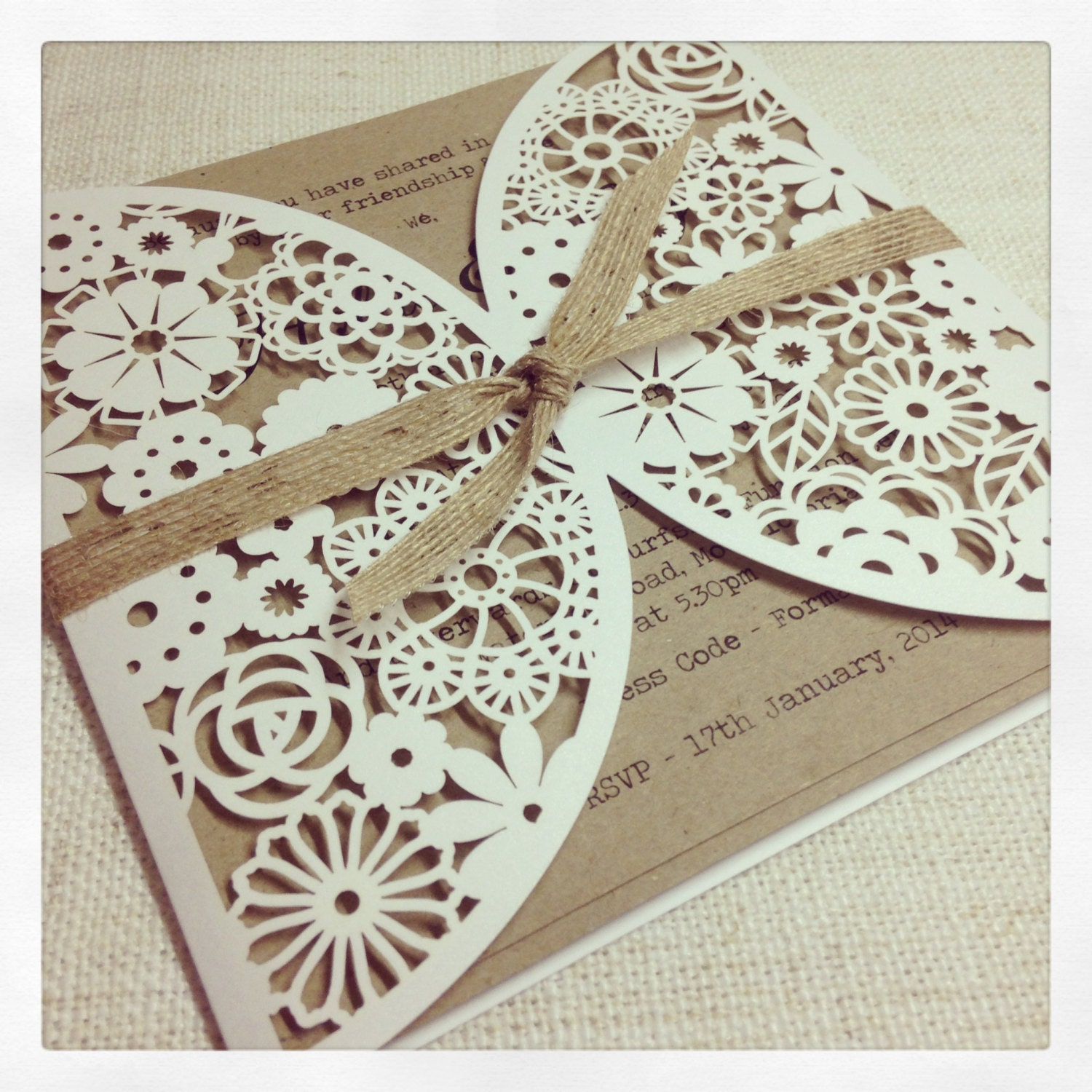 Wedding Invitations With Lace: Rustic Floral Paper Lace Wedding Invitation By