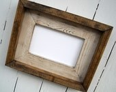 10 x 13 Rustic Picture Frame, Cream Rustic Weathered Stacked And Stained, Rustic Home Decor