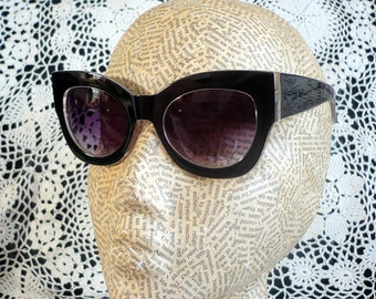 Chunky Black Cat Eye Sunglasses With White Trim