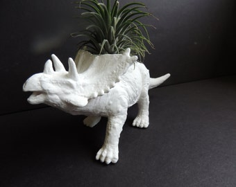 Dinosaur planter.Spencer the Styracosaurus with air plant. Kids room decor.