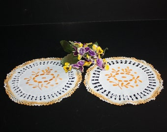 Pair Vintage Doilies Cotton Embroidered Crocheted Golden Orange