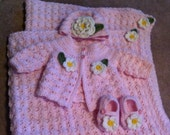 Baby Girl Layette Blanket Sweater Hat Shoes Booties