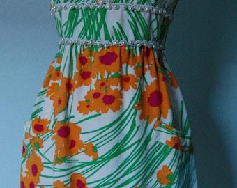 1960s Teal Traina Graphic Print Cotton Faille Dress - Beatufiul Print - Great Style