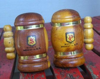 Vintage Wood Kansas Midway Salt & Pepper Stein Shakers. Wooden rustic kitchen cabin lodge country decor