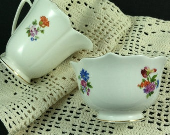 Vintage Bone China Creamer and Sugar Bowl Flowers with Gold Trim