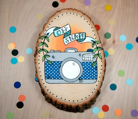 oh snap / original retro camera painting on wood slice