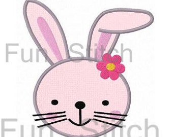 Girl bunny applique machine embroidery design