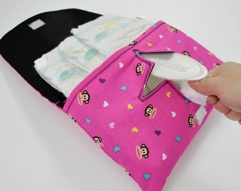 Pink Monkey Diaper & Wipe Clutch Mini Diaper Bag Black Diaper Wallet Pink and Black Diaper Clutch Nappy Bag Baby Wipes Clutch Hospital Bag