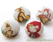 Fabric Covered Buttons (M) - Fairy Tale Storybook Little Red Riding Hood Bunny Squirrel Woods Forest Basket Picnic Day (4Pcs, 0.87 Inch)