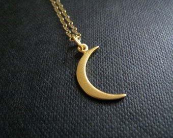 Small gold crescent moon necklace, moon charm necklace, gold crescent moon, celestial jewelry