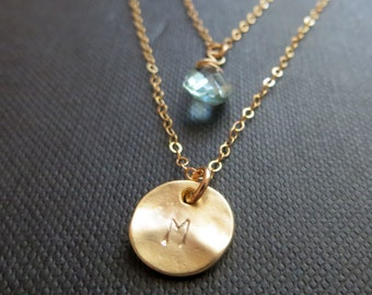 Initial and birthstone double chain necklace, double strand necklace, layered, gold disc, personalized jewelry, mommy necklace