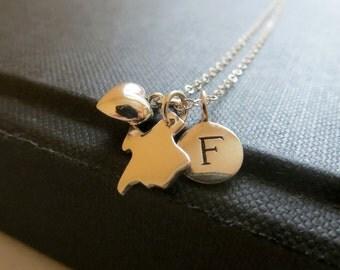 Personalized US STATE necklace, initial, sterling silver map charm, Alaska, Hawaii, Georgia, Louisiana, Texas, NY, Nj, Ca, Pa, Florida