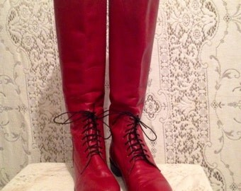 1980s  vintage, Classy cool,  Red Justin riding boot, with front laces womens 7 USA Made