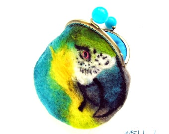 Wet Felted parrot coin purse Ready to Ship with bag frame metal closure Handmade  gift for her under 50 USD
