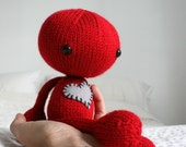 Hand Knit Red Plush Zombie