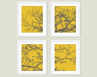 Magnolia Tree Art Prints - Set of Four - Yellow and Grey Tree Wall Art - Modern Nature Decor - Mustard Yellow Charcoal - Woodland Decor