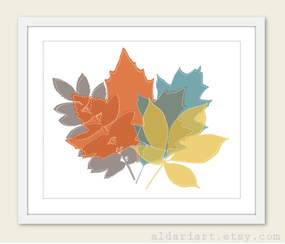 Wall Art Red Leaves : Autumn leaves print fall decor leaf wall art