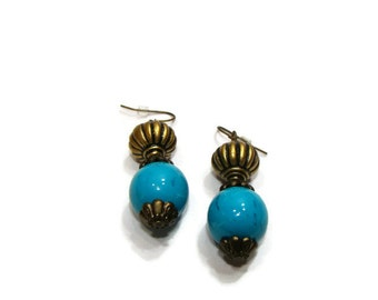 Teal and Bronze Beaded Dangle Earrings