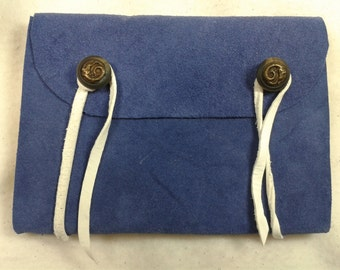 Blue suede journal with dragon buttons