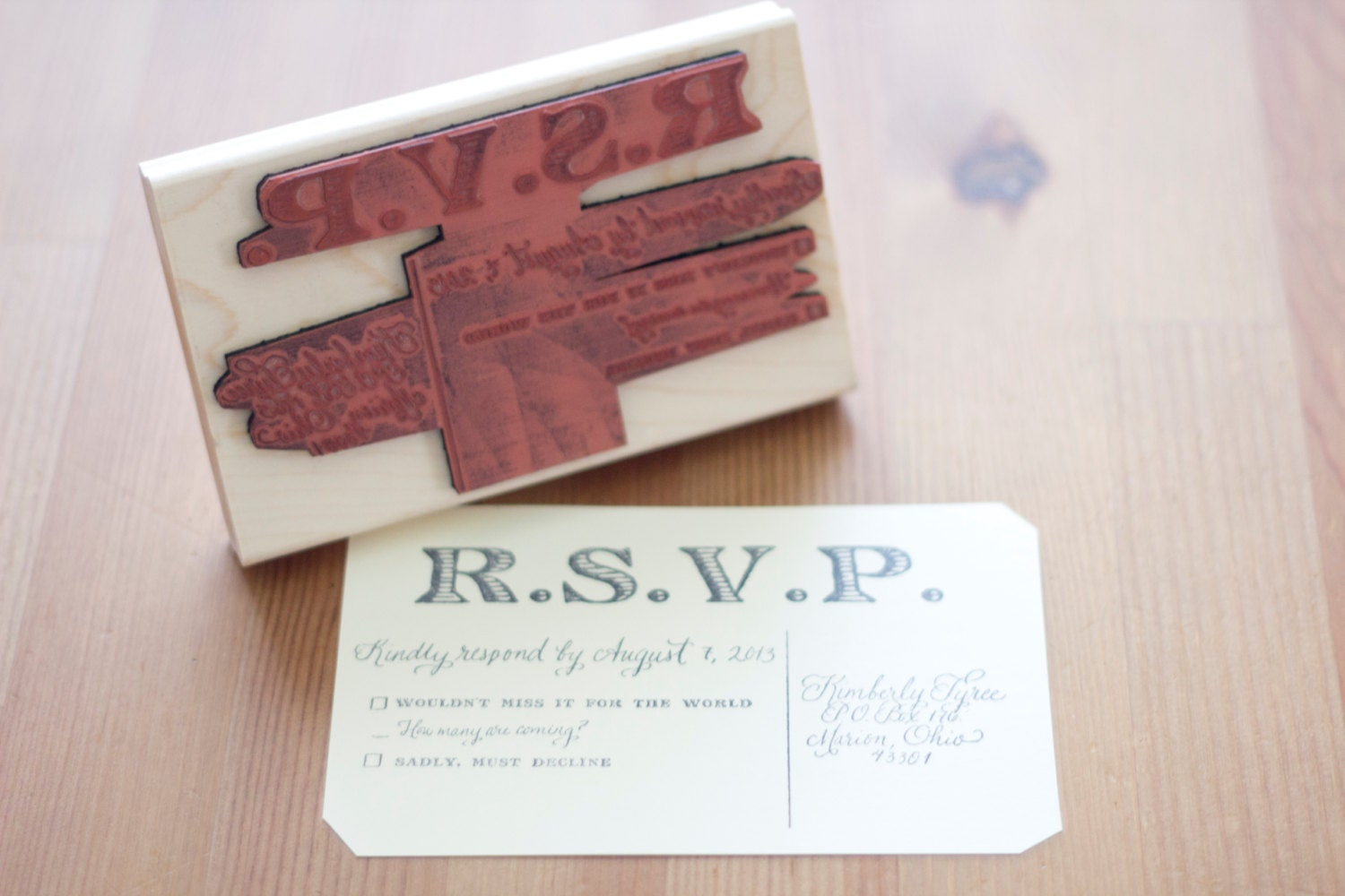 Rsvp card custom calligraphy stamp with address and dates for Wedding rsvp cards stamps