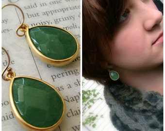 Green Adventurine Teardrop Earring, Bezel Set and Faceted in Matte Gold over Brass